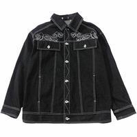 メンズアジアン風雲モチーフ刺繍黒デニムジャケット