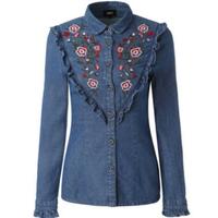 フォークロア花柄刺繍デニムかわいいフリル長袖シャツ