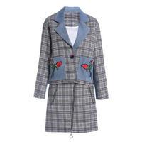 セットアップ/ポイントデニム/お花&チェック柄ジャケット+スカート