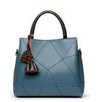 ハンドバッグ/ジオメトリック刺繍が特徴的フェイクレザー6色