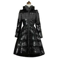 異素材ミックス大きい広がりがかわいいロングワンピース風フレア中綿コート