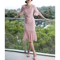 結婚式/パーティーにも◎ピンク異素材マーメイドドレス