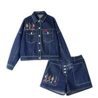セットアップ/青コットンデニム/ポイント刺繍/ジャケット+ショートパンツ