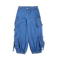 メンズ/サイドボリュームポケット/青デニム/ルーズフィットジーンズ