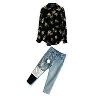 セットアップ/黒花柄長袖シャツ+異素材ジーンズ