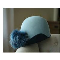 ぼんぼん&リボン2WAYアシンメトリーブリムアップウールフェルト帽4色