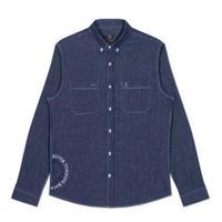 メンズ/コットンデニム/サイドロゴ長袖/ボタンダウンシャツ