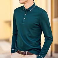 メンズ緑/青ポイントラインシンプルなデザイン長袖ポロシャツ