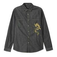 メンズ/黒デニム/ポイント鯉風刺繍/長袖シャツ