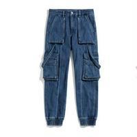 メンズ2タイプ青ポケットボリュームデニムジョガーパンツ