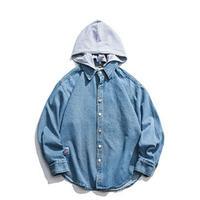 メンズバック大きいロゴ青フード取り外し可能2WAY長袖シャツ