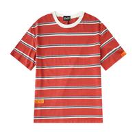 ユニセックスカジュアル赤/黄色鮮やかボーダーTシャツトップス