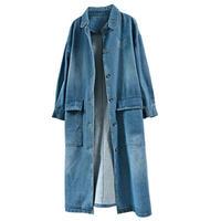 大きいフラップポケット青デニムトレンチコート