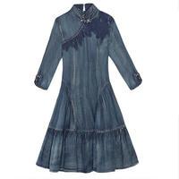 フォークロア刺繍ハイネック七分袖かわいいワンピース