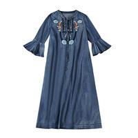 フォークロア花刺繍七分袖フレアデニムロングワンピース