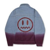 メンズ/紫/青/ベージュ/黒/バックプリント/デニムジャケット