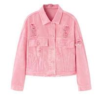 ピンクデニムチェーンビジュー/ダメージショートジャケット