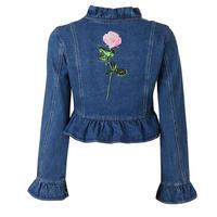 バック薔薇刺繍ハイネックフリルぺプラムデニムジャケット