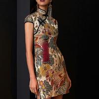 アジアンフォークロア鳥&自然ミニ丈ハイネックスリットドレス