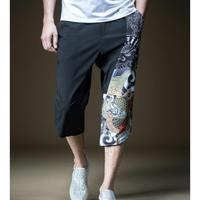 メンズかっこいいサイドアジアン龍模様クロップド丈パンツ