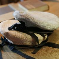 グレー/ブラウン/おしゃれグレンチェック紐リボンベレー帽