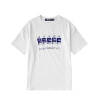 ユニセックス白/黒/グレーペットボトルモチーフTシャツトップス