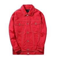 メンズ/ウエストカット/赤/黒/デニムジャケット