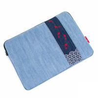 和風金魚刺繍/バイカラー/デニム/スクエア/タブレットケース