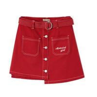 赤ロゴアシンメトリーデニムミニ丈スカート