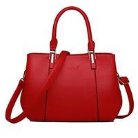 マチ太めのハンドバッグ/ポーチ収納可能フェイクレザー6色