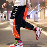 メンズカジュアルおしゃれ配色ロゴがかっこいいジョガーパンツ