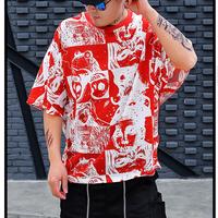 メンズ赤/黒/黄/神秘的二の腕大きいサイズTシャツトップス