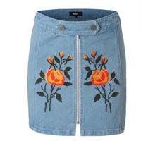 オレンジ花刺繍センタージップデニムミニスカート