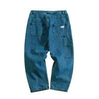 メンズ斜めポケット青黒レギュラーフィットデニムジーンズ