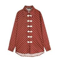 アジアンフォークロアプリント/ラフなオーバーサイズ長袖シャツ