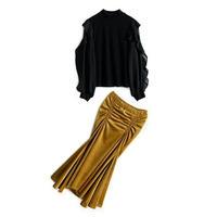 セットアップ/レトロトップス+ベロアギャザーシルエットが綺麗なマーメイドスカート