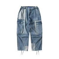 メンズ/アシンメトリーバイカラー&ポケット/デニム/裾絞りパンツ