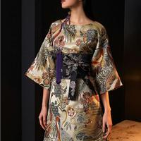 着物風ベルト付き鳥&花柄モチーフ袖広めスリットドレス