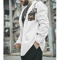 メンズ大きいサイズロゴ&迷彩ポケットフードシャツアウター白黒