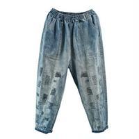 落書き風刺繍/青色落ちデニム太ももワイドデニムパンツ