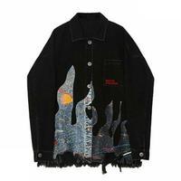 ユニセックスロゴ&神秘的な絵画風プリント黒デニムジャケット
