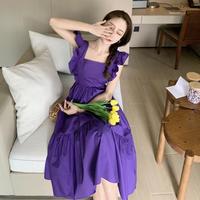 ワッシャープリーツとバックシャン袖フリルがかわいい/スクエアカラー/ロングフレアワンピース黒/紫