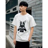 メンズ白/黒モノトーンロゴ&犬模様半袖Tシャツトップス