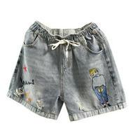 2タイプ女の子&魚刺繍模様がかわいらしいダメージデニムショートパンツ