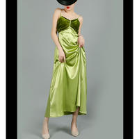 ベロア切替素材コントラストが魅力緑キャミロングフレアドレス