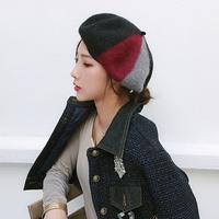 黒/グレー/ベージュ/茶おしゃれな配色フェルトベレー帽