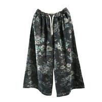 黒/青ボタニカル花柄ワイドデニムガウチョパンツ