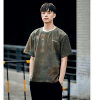 メンズ黒/カーキ/青タイダイムラ模様半袖Tシャツトップス