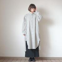 KaIKI /  シルク混サッカーストライプシャツワンピース - Black