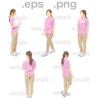 介護スタッフ人物イラスト (EPS , PNG )   KAIGO_001